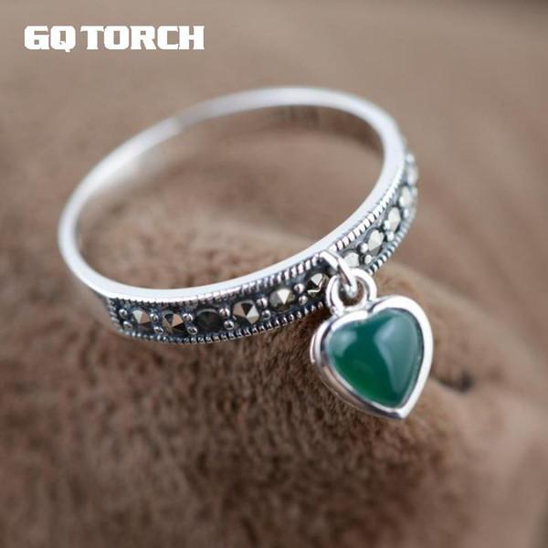Anéis de Ágata GQTORCH 925 Jóias de Prata Esterlina Anéis de Pedra Natural Do Vintage Vermelho E Verde Para As Mulheres