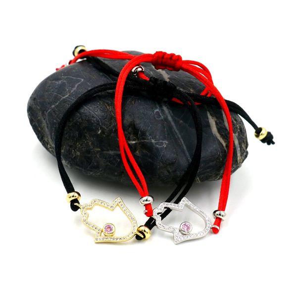 Hamsa Fatima Hand Charm Wish Bracelet Black Red String Bracelets for Women Men Kids Lovers Couple Jewelry Gift