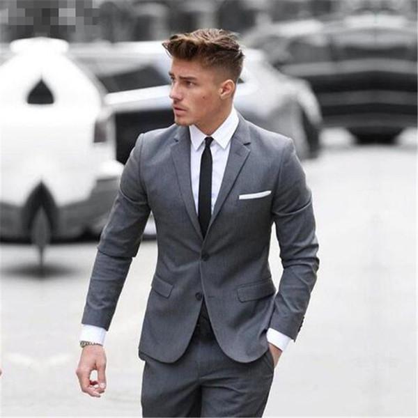 Grey Custome Homme Tuxedos Men Suits 2 Pieces(Jacket+Pant+Tie) Fashion Custom Suits Formal Trajes De Hombre Tuxedos Blazer