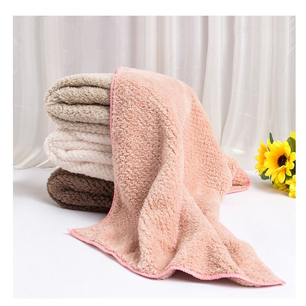 Microfiber Fabric Towel Thickened Coral Velvet Face Towel 34*80 for Outdoor Camping Travel Bath Swimming Yoga