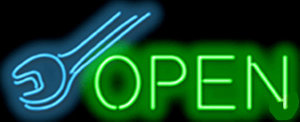 Open with Wrench Clearance Repair Car Auto Tube neon sign Handcrafted Automotive signs Shop Store Business signage 17