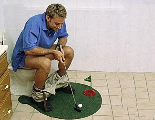 Toilet Golf Bathroom Game Mini Golf Set Putter Practice in the Bathroom with this Potty Putter Play Golf on the Toilet Wholesale