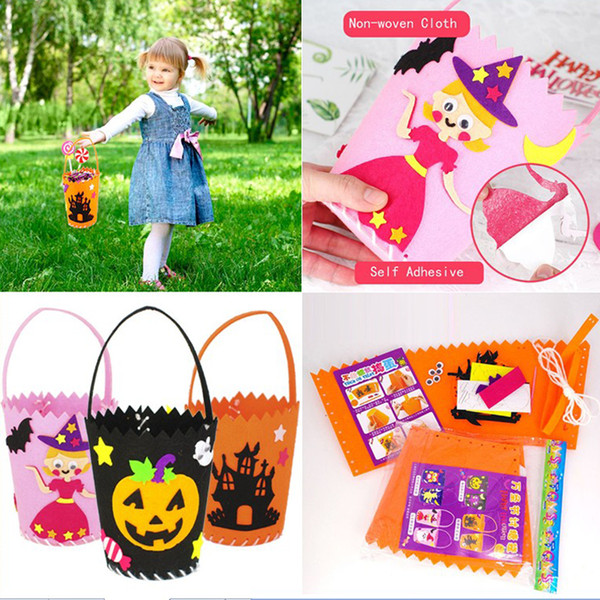DIY Handmade Candy Bag Halloween Children Tote Bucket Non-Woven Fabric Handbags Kids Baby Pumpkin Ornaments Party Supplie Wholesale