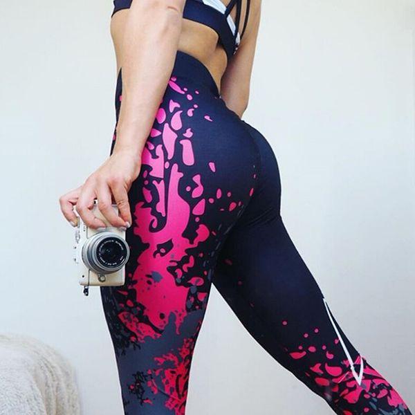 ac5c1f0614b4f Athletic Outdoor Apparel Yoga Fitness Stretch Pants Digital Geometric Print  Hip Lifting High Waist Leggings Elastic
