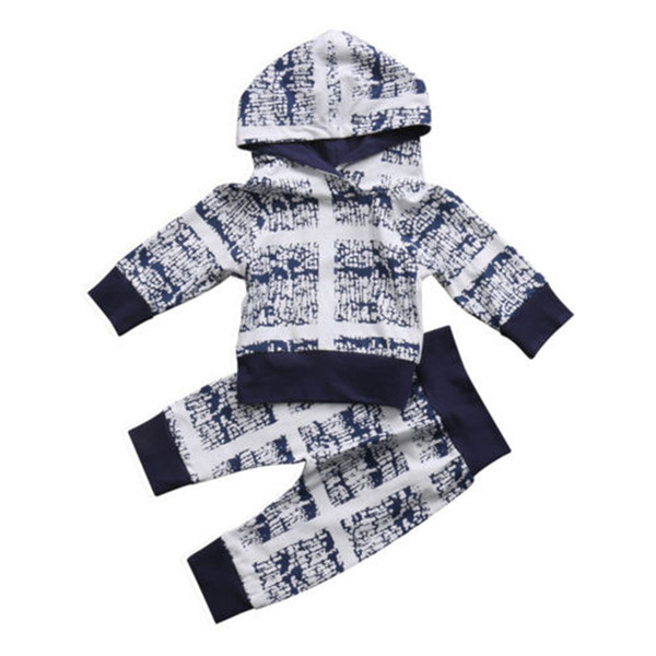 NEWBABY UK Stock 0-24M Newborn Baby Kids Boys Girls Clothes Hooded Tops+Long Pants Autumn Winter Outfits Sweatshirt