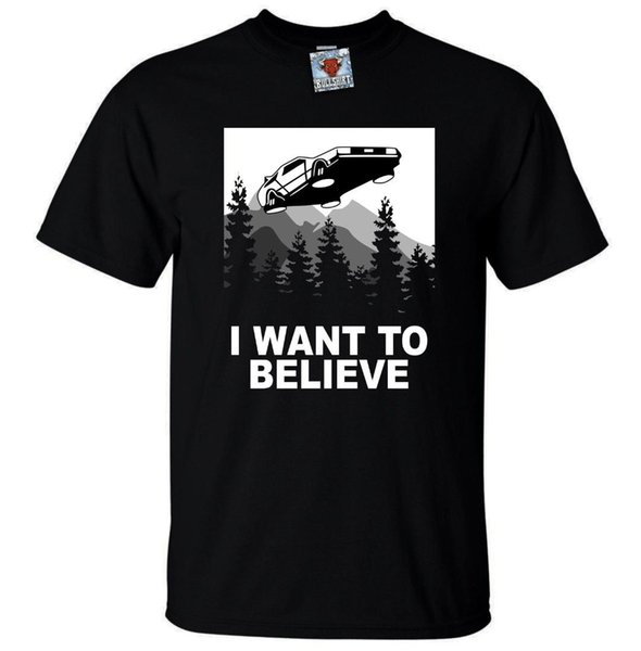Mens I Want to Believe Future T-Shirt - Funny t shirt Sci Fi parody time travel 100% Cotton Short Sleeve O-Neck Tops Tee Shirts