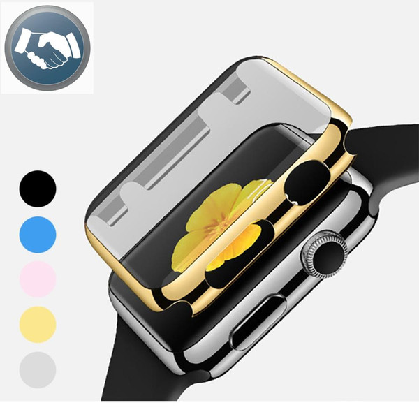 Electroplate PC Full Screen Protector Film Case Cover Shell Bumper for Apple Watch iWatch Series 1 2 38mm 42mm Accessories With Opp Bag