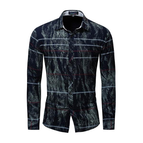 New men's casual long-sleeved shirt youth color matching striped lapel shirt fashion urban men's cotton T-shirt