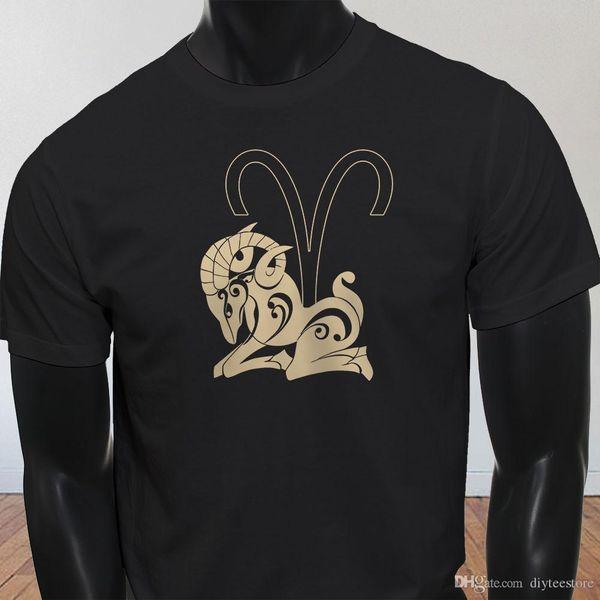Horoscope Fire Mars Ram Aries Factory Outlet T-Shirt Tee Shirt Men Man's Printing Custom Short Sleeve Boyfriend's Big Size Men