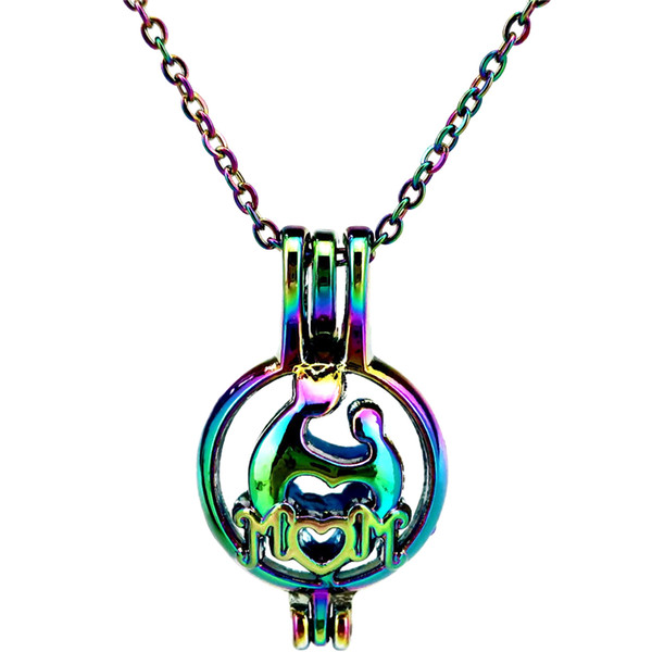 C561 Rainbow Color Mother and Child Mom Letter Beads Cage Pendant Essential Oil Diffuser Aromatherapy Pearl Cage Locket Pendant Necklace