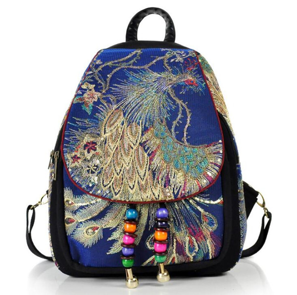 Phoenix Embroidery Women Vintage Backpack Shoulder School Book Travel Handbag Rucksack Bag