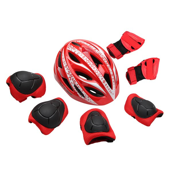 7pcs/set Kids Cycling Skating Helmet Ultralight Children's Bicycle Helmet Bike Child Size 47-52cm+6 Protective Gear