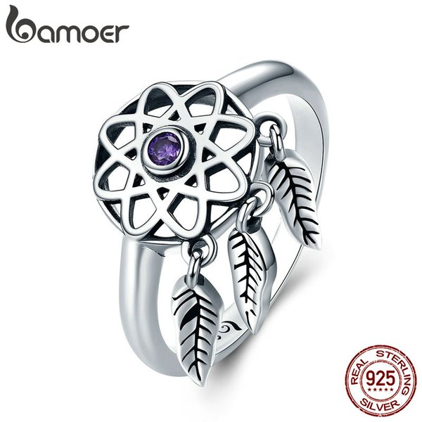 925 Sterling Silver Beautiful Dream Catcher Holder Drop Finger Ring Purple Crystal Women Jewelry Anniversary Birthday Gift