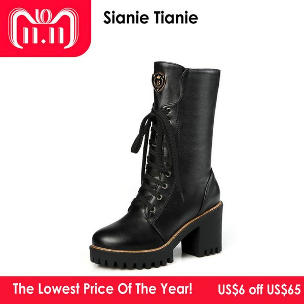 Sianie Tianie Chunky Square High Heels Platform Woman Boots Winter Warm Lace-Up PU Mid-calf Shoes for Women Fashion Boots Bootie