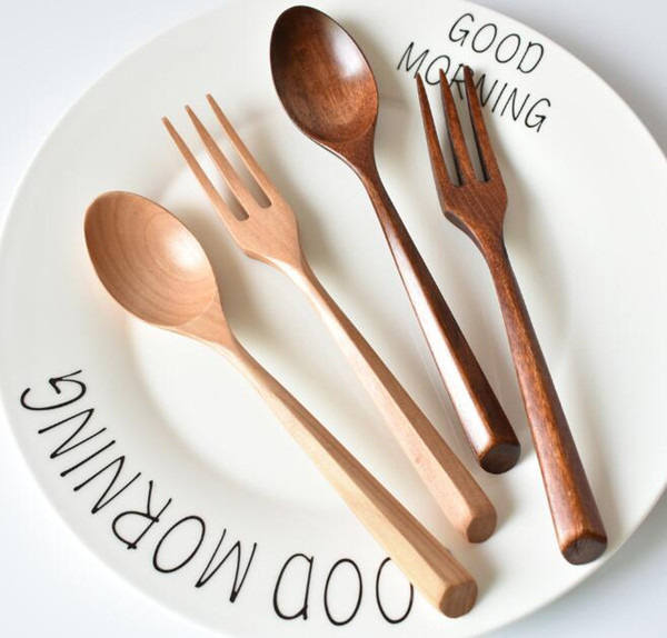 Wooden Fork Spoon Cutlery Set Natural Wood Desert Teaspoon Dinnerware Set For Kids Kitchen Picnic Tableware Set