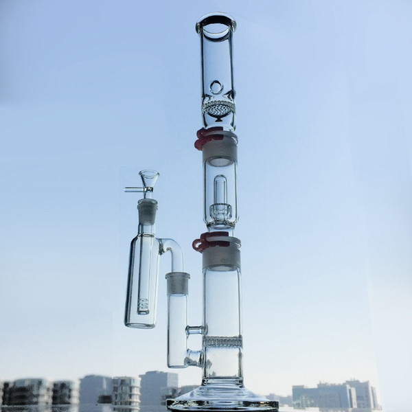 19 inch Tall Bongs 3 Chambers Build a Bong Honeycomb Disc Perc Water Pipe Straight Tube Bong With Ash catcher WP522