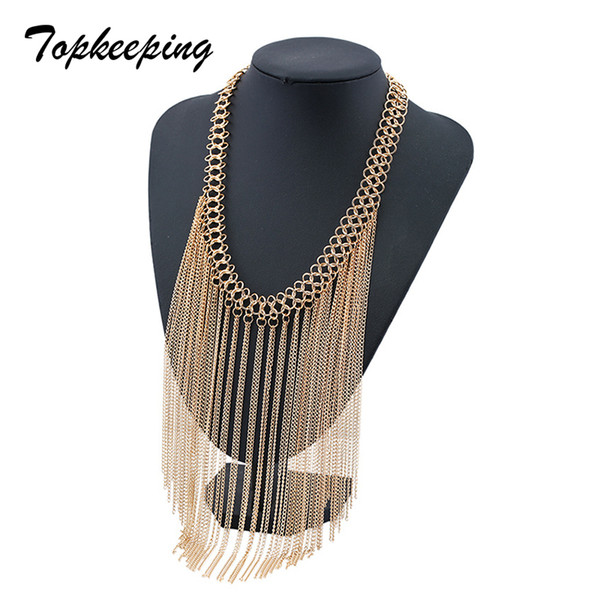 Women Fashion Jewelry High Quality Metal Tassel Collar Clavicle Chain Girls Gift Hyperbole Ethnic Style Sweater Necklace Jewelry
