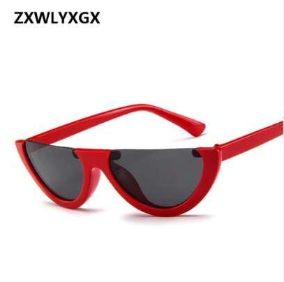 Cool Trendy Half Frame Rimless Cat Eye Sunglasses Women 2018 Fashion Clear Brand Designer Sun glasses For Female Oculos de sol