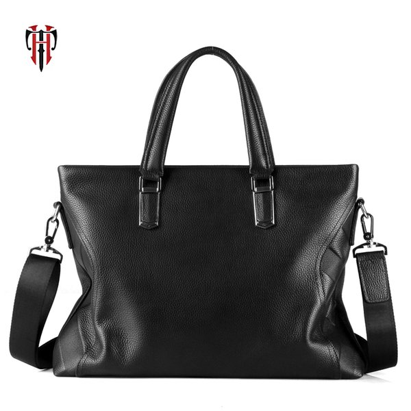 TIANHOO genuine leather men tote fashion business work briefcase first layer cow leather hand bag for 14 inch laptop bag