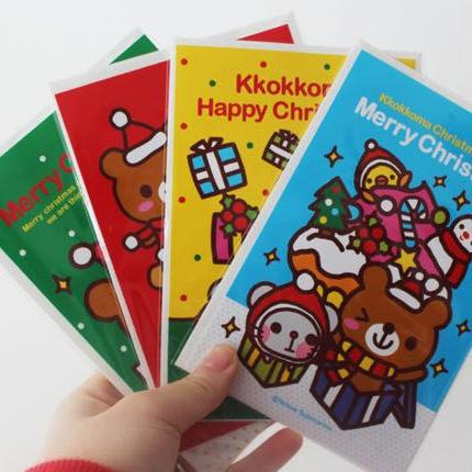 1pcs South Korea Stationery Happy Cute Bear Christmas Card New Year Greeting Card Clear Letter White Envelope 4070