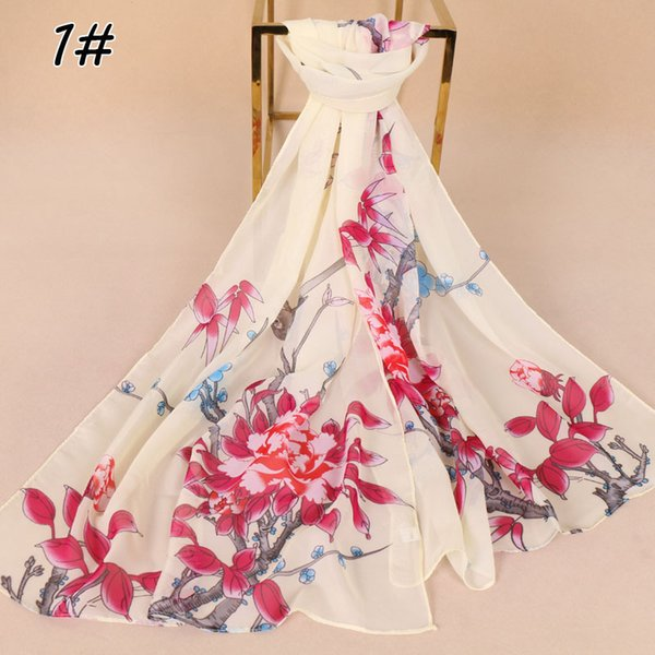 women chiffon silk scarf flower printed scarves bird printed shawls long thin scarf for hijab summer shawls head wrap