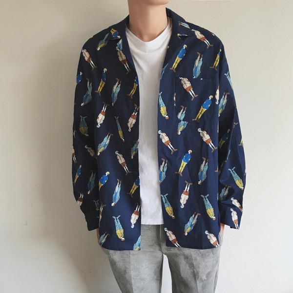 2018 autunno nuovo stile deve comprare i caratteri di moda casual degli uomini stampati maniche lunghe in cotone bavero camicie larghe camicie Abbigliamento uomo