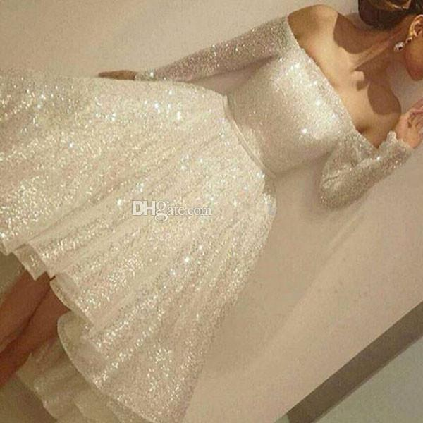 Ivory Sequined High Low Ball Gown Prom Dresses 2018 Bateau Long Sleeve Hi-Lo Short Formal Short Evening Party Homecoming Gowns Cheap Custom