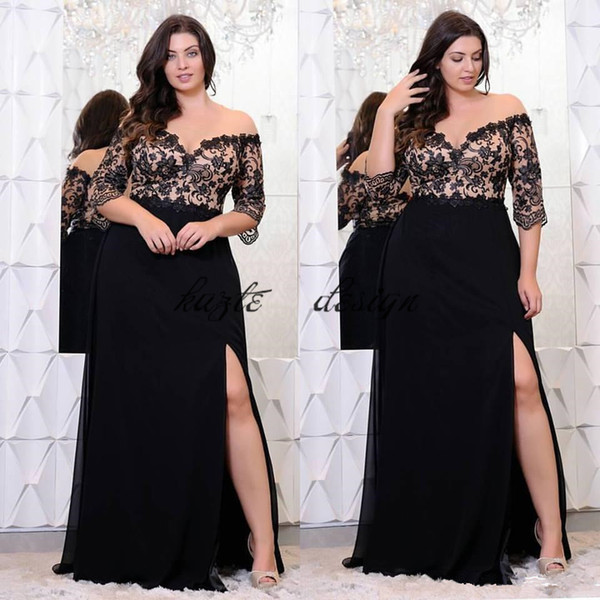 Black Lace Plus Size Prom Dresses With Half Sleeves Off The Shoulder V Neck  Split Side Evening Gowns A Line Chiffon Formal Dress Plus Size Clothes ...