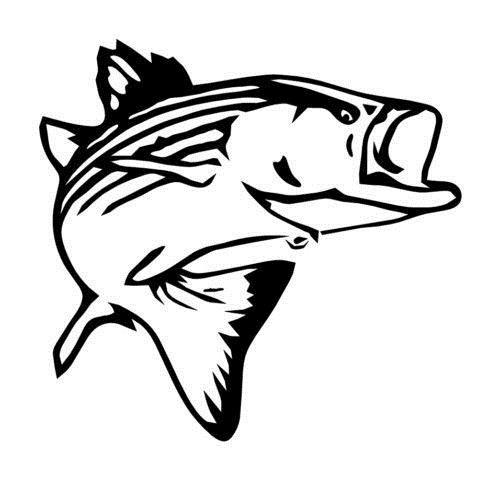 """Car styling for Fish Striped Bass Jump Offshore Fishing Vinyl decal Die Cut Sticker 5.5"""""""