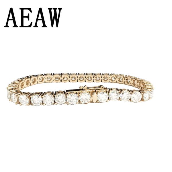 Estilo de moda Sólido 14K 585 Oro Amarillo 6ctw-18ctw s ct mm DF Color Pulsera de diamantes Moissanite para mujeres Test positivo