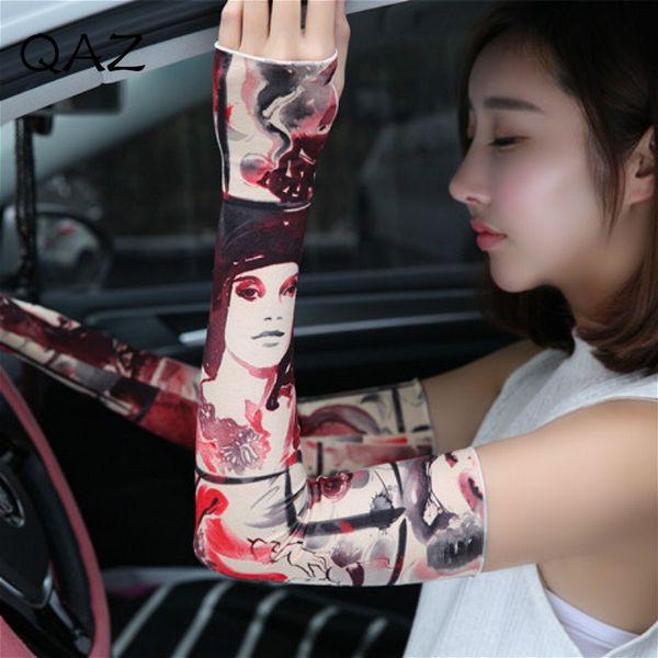 QAZ Section Drove UV Sunscreen Half Finger Long Gloves Cuff Arm Sleeve Sun Hand Protection Womens Fingerless Gloves W455