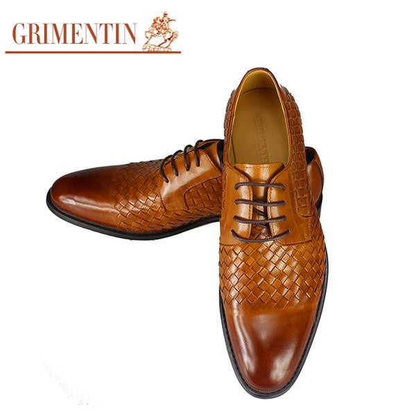 GRIMENTIN Fashion designer genuine leather mens shoes casual vintage black business woven shoes men flats for male foot wear
