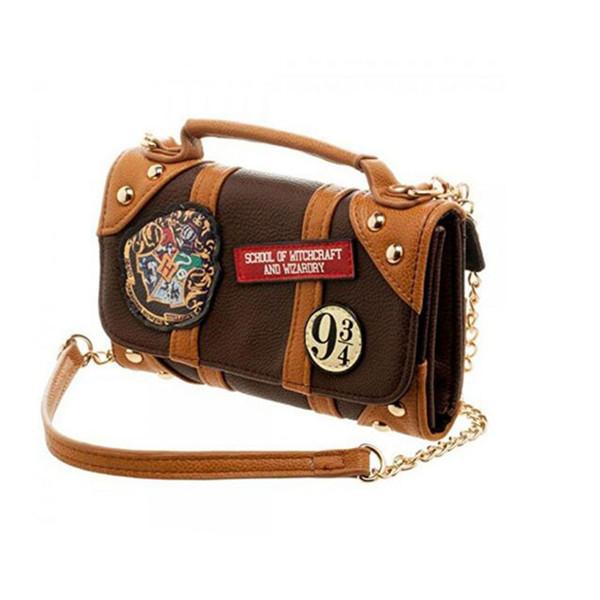 Offical Harry Potter Shoulder Bag Chain Mini handbag Castle Crest Envelope Satchel Fold long Wallet Purse with Y18102904