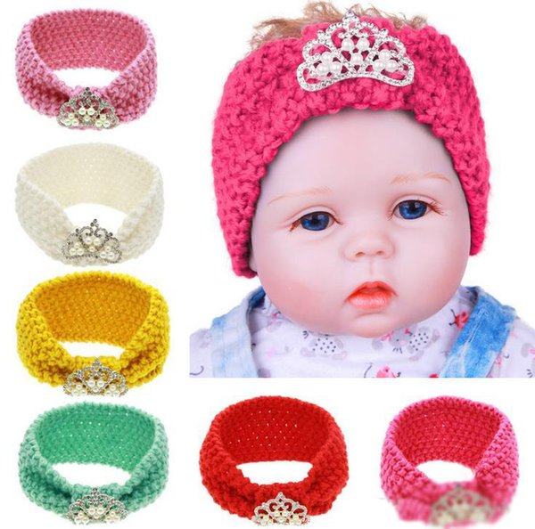 Autumn Winter Infant Baby Knitted Headbands Girls Hair Bands Childrens Crown Hairband Lovely Kids Headwraps Hair Accessory 6 Colors