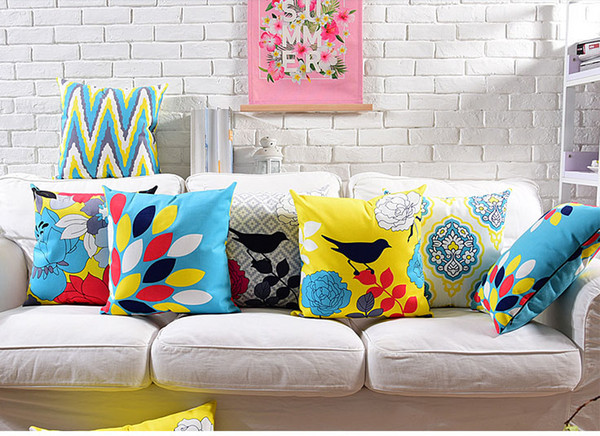 Flower Birds Cushion Cover 7 Styles Geometric Wavy Stripe Yellow Blue Color 45X45cm 30X50cm Soft Pillow Covers Pillow Cases Bedroom Decor