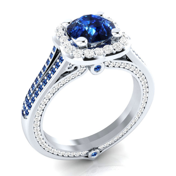925 Sterling Silver Gem Stone Ring Crystal Blue Green Stone Wedding Engagement Christmas Gift