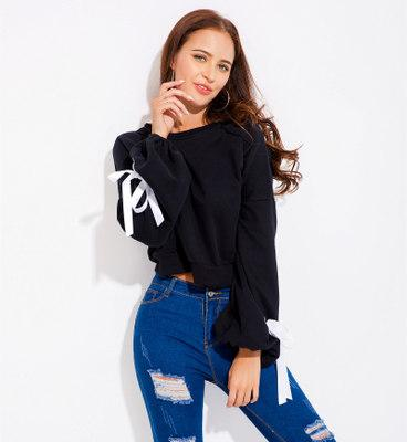 Women Lantern Sleeve Short Hoodies Fashion Ladies Long-sleeved Loose T Shirts Female Bow-knot Casual Sweatshirts