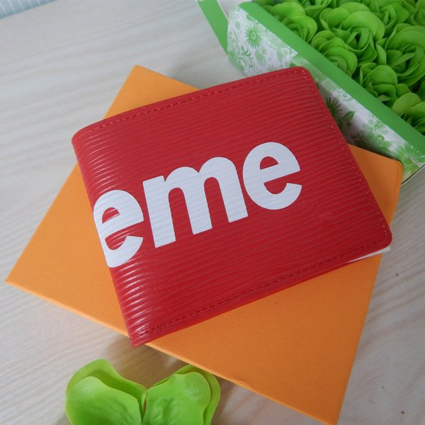 LUXURY Famous brands sup eme wallet white red off for man woman SUP Card bag with A+++ fear god mens designer vetements