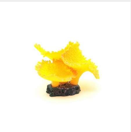 Coral 7,5 cm haut simulation de décor d'aquarium de corail artificiel de silicone d'accent jaune
