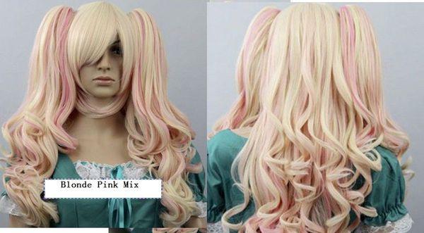 New Cosplay COS Harajuku lolIta long Blonde Pink Mix Curly wig
