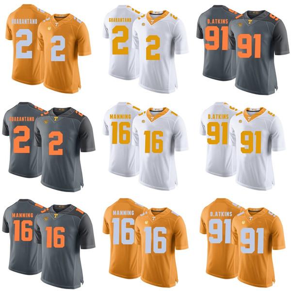 Factory Outlet pas cher Mens Tennessee 16 Manning 2 Guarantano Gris Orange Blanc Meilleure Qualité Maillots de Football de Collège, livraison gratuite