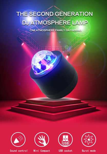 Car LED Music Lights Voice Control Mini MP3 Club Disco Party Crystal Magic Ball Stage Effect Rotating Bulb With USB Interface