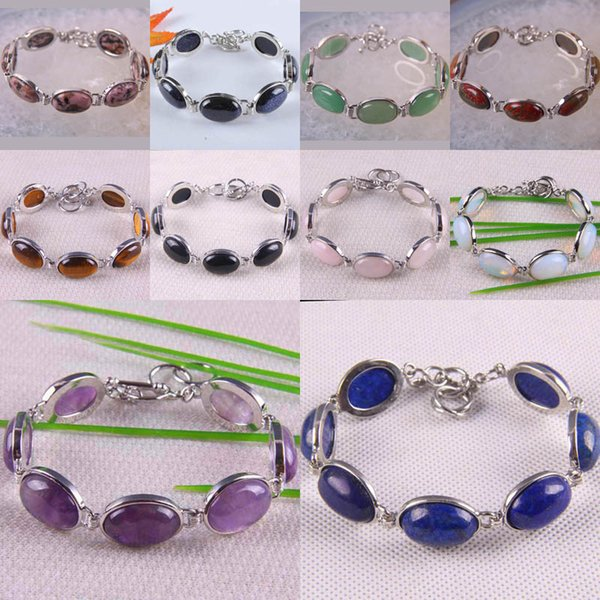 Sandstone/Rhodonite/Picasso/Opal/Lapis/Howlite/Crystal Stone GEM Stone Bracelet Bangle 8 Inch Jewelry For Woman Gift G047-G057