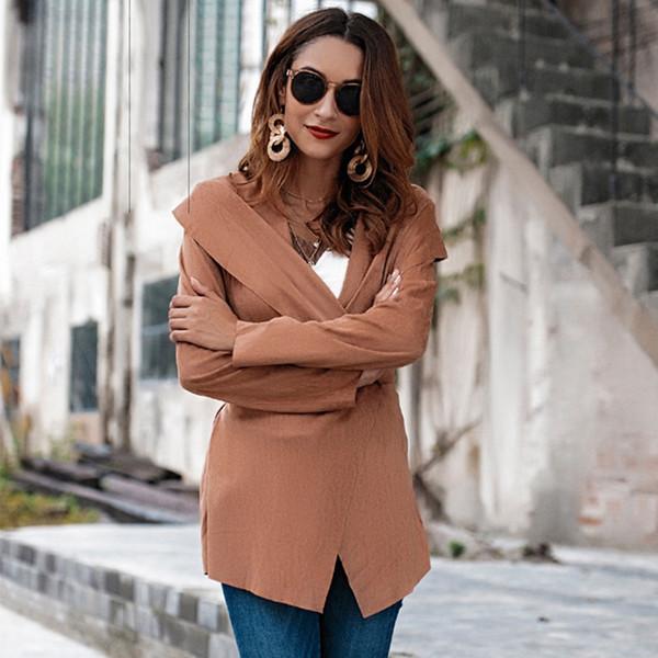 CWLSP Binden Umlegekragen Mantel mit Schärpen Herbst Frau Wrap Cardigan Lässige Trench Solid Outwear jaqueta feminina QL4170