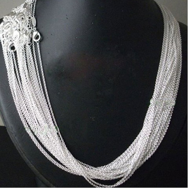 wholesale pr50pcs/ lot bulk 925 stamped Silver Plated 1mm Link Rolo Chains 16