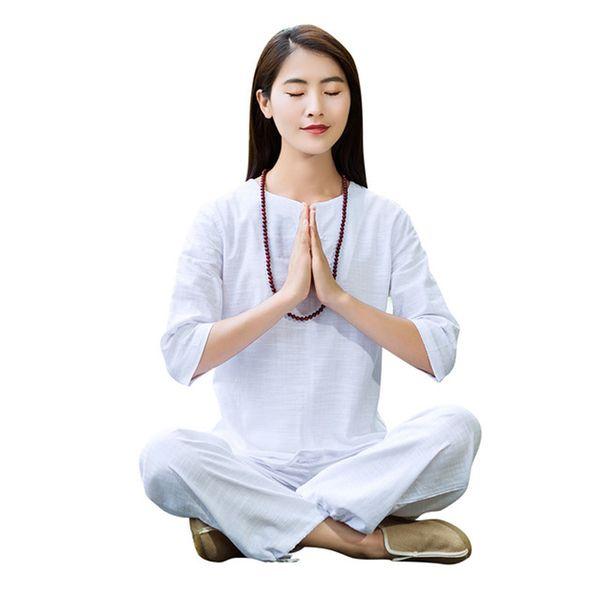 Women Yoga Suit Loose Trousers Tops Set Ladies Linen Outdoor Yoga Clothes Zen Meditation Tai Chi Clothing Kung Fu 2pcs/Set