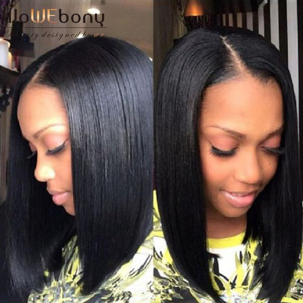 WoWEbony 100% Human Indian Remy Hair Yaki Straight Short Bob Glueless Full Lace Wigs & Lace Front Wigs With Baby Hair Right Part
