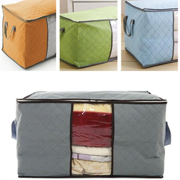 Portable Non Woven Quilt Storage Bag Clothing Blanket Pillow Underbed Bedding Big Organizer Bags House Room Storage Boxes Buggy Bag 4 Colors