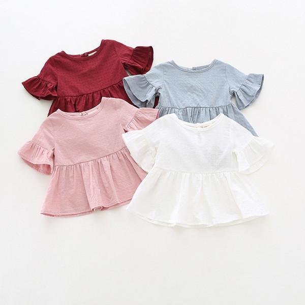 2018 INS NEW ARRIVAL Niñas, niños camisa, volantes Manga, cuello redondo, camisas de color sólido, niña, verano, verano, 100% camisa de algodón