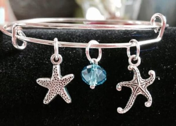 Ocean Star Fish Crystal Bead Charm Expandable Wire Bangles Vintage Silver Cuff Bangles Bangles For Women Jewelry Gift Accessories NEW 10pcs